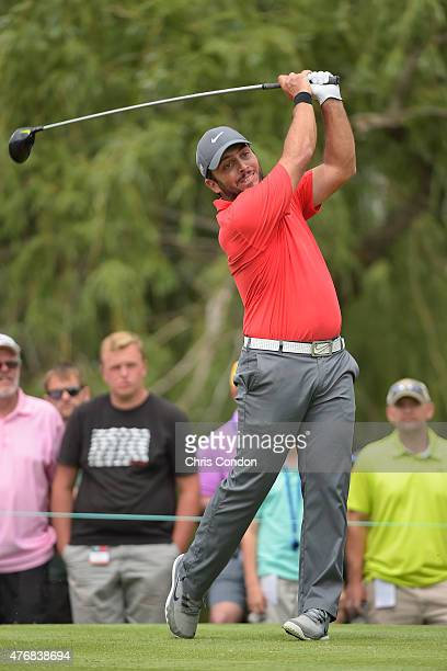 Francesco Molinari of Italy tees off on the ninth hole during the final round of the Memorial Tournament presented by Nationwide at Muirfield Village...