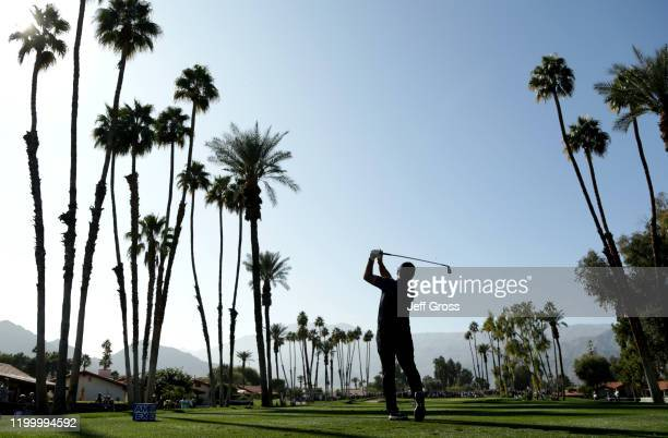 Francesco Molinari of Italy tees off on the seventh tee during the first round of The American Express tournament at La Quinta Country Club on...