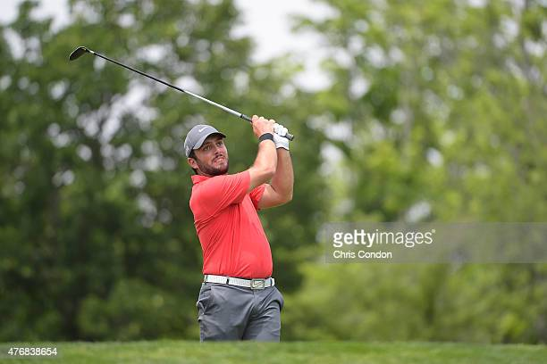 Francesco Molinari of Italy tees off on the third hole during the final round of the Memorial Tournament presented by Nationwide at Muirfield Village...