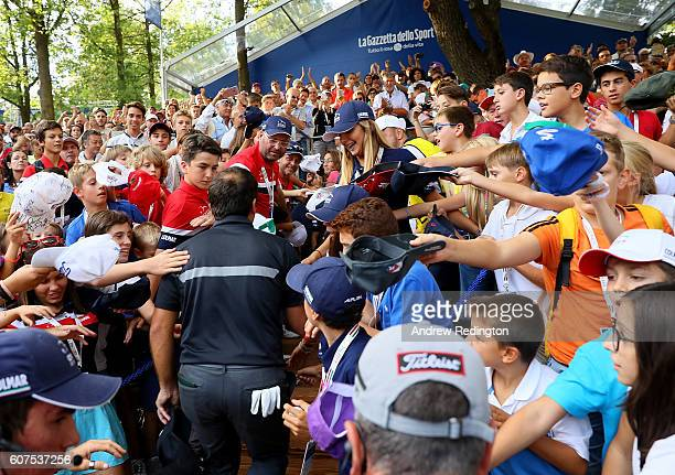 Francesco Molinari of Italy walks off the 18th hole during the fourth round of the Italian Open at Golf Club Milano Parco Reale di Monza on September...
