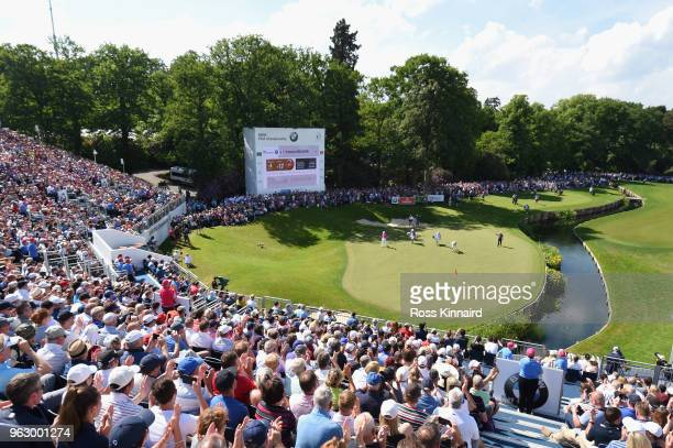 Francesco Molinari of Italy walks onto the 18th green during the final round of the BMW PGA Championship at Wentworth on May 27 2018 in Virginia...