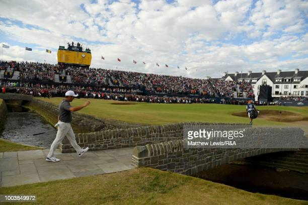 Francesco Molinari of Italy walks over bridge over the Barry Burn on his way to the 18th green during the final round of the Open Championship at...