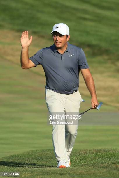 Francesco Molinari of Italy walks to the 18th green during the final round of the Quicken Loans National at TPC Potomac on July 1 2018 in Potomac...