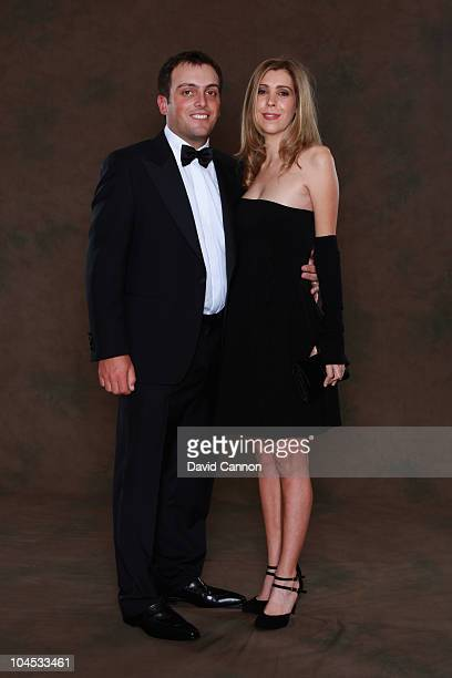 Francesco Molinari of the European Ryder Cup team poses with his wife Valentina prior to the 2010 Ryder Cup Dinner at the Celtic Manor Resort on...