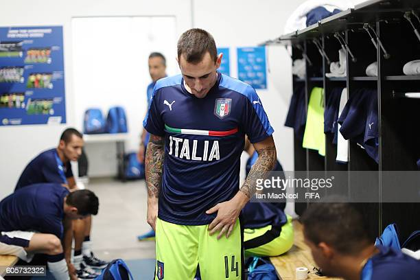 Francesco Molitierno of Italy is seen in the dressing room prior to the Group C match between Guatemala and Italy during the FIFA Futsal World Cup at...