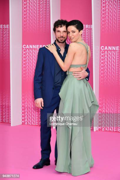 Francesco Montanari and Andrea Delogu attend Aqui En La Tierra and Il Cacciatore screening during the 1st Cannes International Series Festival at...