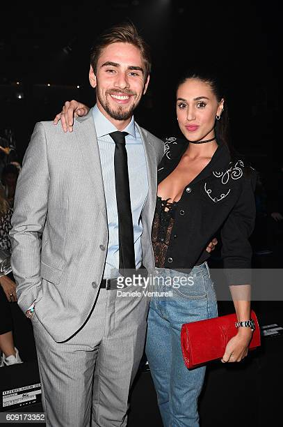 Francesco Monte and Cecilia Rodriguez attend the TEZENIS Fashion Show on September 20 2016 in Verona Italy