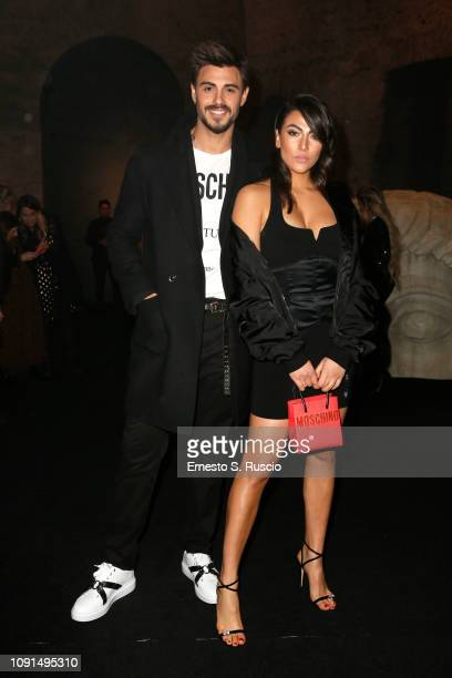 Francesco Monte and Giulia Salemi attend Moschino Menswear Collection Autumn/Winter 2019/20 at Cinecitta on January 08 2019 in Rome Italy