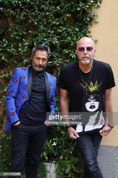 Francesco Pignatelli, Creative Director of Carlo Pignatelli and Pau of Negrita pose during the Carlo Pignatelli presentation during the Milan Fashion...