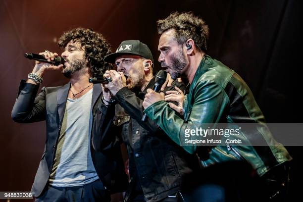 Francesco Renga, Max Pezzali and Nek perform on stage at Mediolanum Forum of Assago during the MNR Tour on April 19, 2018 in Milan, Italy.