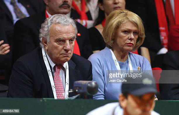 Francesco Ricci Bitti president of International Tennis Federation and his wife attend day three of the Davis Cup tennis final between France and...