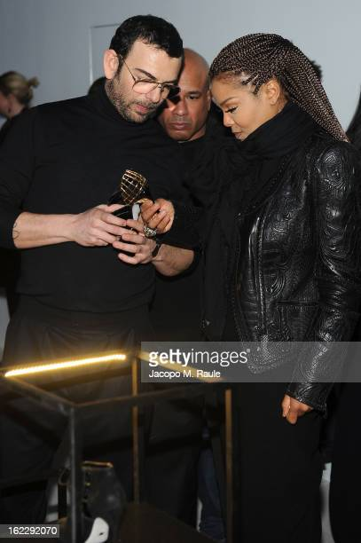 Francesco Russo and Janet Jackson attend the Sergio Rossi presentation cocktail during Milan Fashion Week Womenswear Fall/Winter 2013/14 on February...