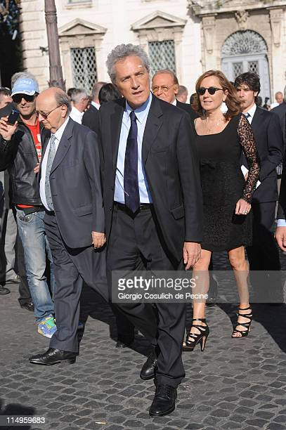 Francesco Rutelli and Barbara Palombelli arrive at the Quirinale Palace to attend the Annual Party hosted by Italy's President Giorgio Napolitano on...