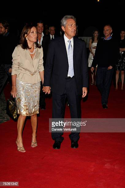 Francesco Rutelli and Barbara Palombelli arrive for the 'Valentino In Rome 45 Years Of Style' Dinner at the Ari Paci on July 6 2007 in Rome Italy