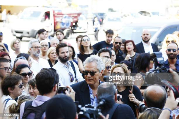 Francesco Rutelli and Barbara Palombelli attend during the Carla Fendi Funeral at Chiesa degli Artisti on June 22 2017 in Rome Italy