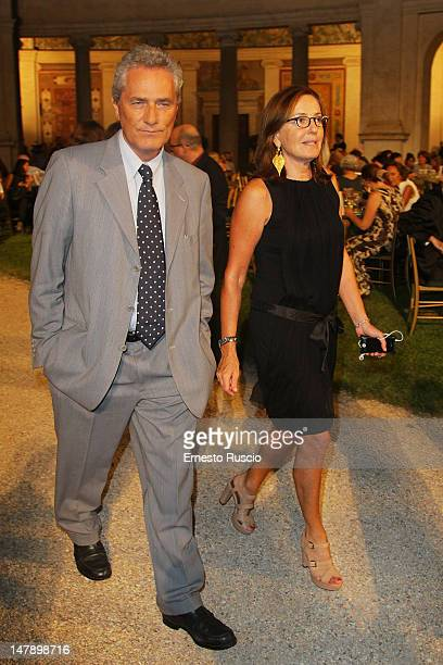 Francesco Rutelli and Barbara Palombelli attend the LXVI Premio Strega at Ninfeo Di Villa Giulia on July 5 2012 in Rome Italy