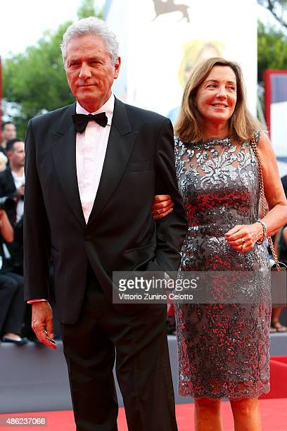 Francesco Rutelli and Barbara Palombelli attend the opening ceremony and premiere of 'Everest' during the 72nd Venice Film Festival on September 2...