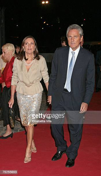 Francesco Rutelli and his wife Barbara Palombelli arrive at the 'Valentino In Rome 45 Years Of Style' postexhibit gala dinner at the Temple of Venus...