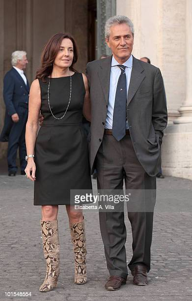 Francesco Rutelli and wife Barbara Palombelli arrive at the Quirinale Palace to attend a Gala Dinner hosted by Italy's President Giorgio Napolitano...