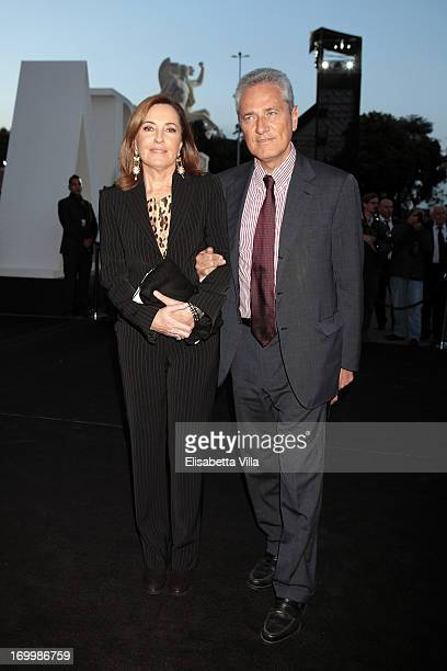 Francesco Rutelli and wife Barbara Palombelli attend 'One Night Only' Roma hosted by Giorgio Armani at Palazzo Civilta Italiana on June 5 2013 in...