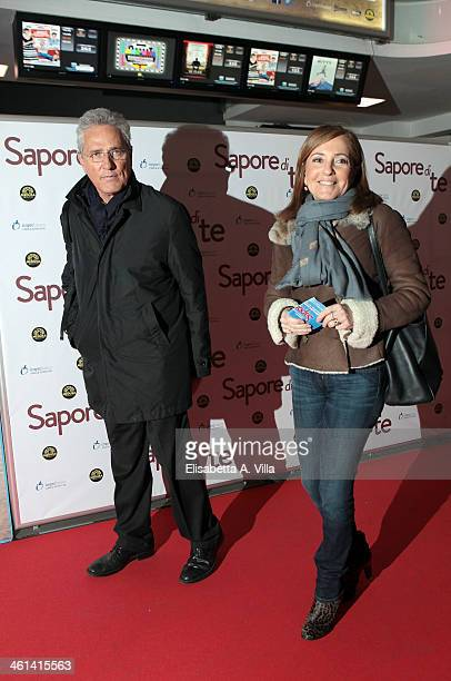 Francesco Rutelli and wife Barbara Palombelli attend 'Sapore Di Te' premiere at Cinema Adriano on January 8 2014 in Rome Italy