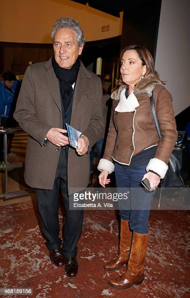 Francesco Rutelli and wife Barbara Palombelli attend 'Tempo Instabile Con Probabili Schiarite' Screening at Cinema Barberini on March 30 2015 in Rome...
