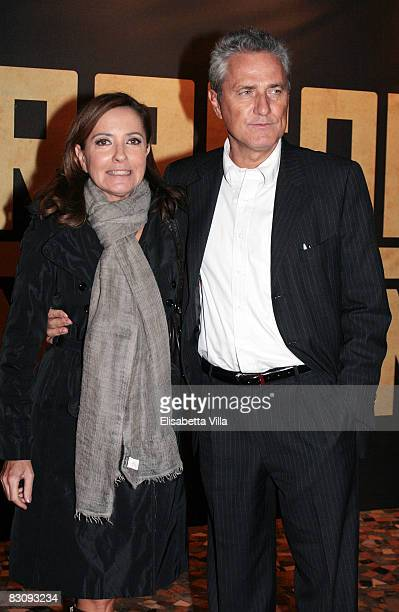 Francesco Rutelli and wife Barbara Palombelli attends `Miracle At St Anna` premiere at Warner Moderno Cinema on October 2 2008 in Rome Italy