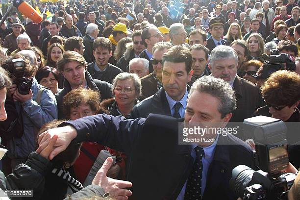 Francesco Rutelli, 'Olivier' candidate of the general elections in April, greets the crowds whil-e on campaign.