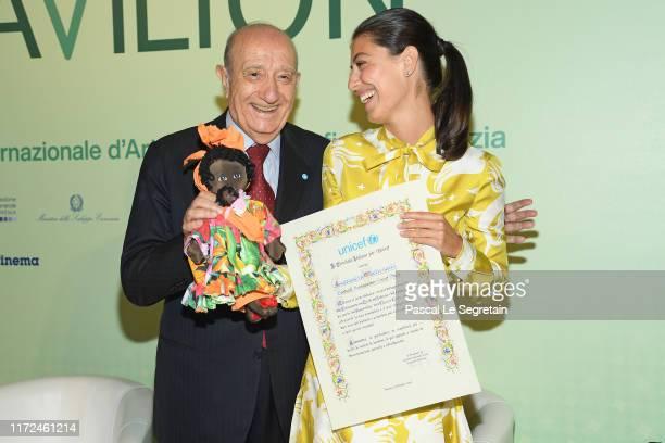 Francesco Samengo and Alessandra Mastronardi attends the Alessandra Mastronardi Goodwill Ambassador Ceremony during the 76th Venice Film Festival at...