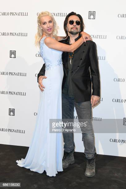 Francesco Sarcina and Clizia Incorvaia attends the Carlo Pignatelli Haute Couture fashion show on May 20, 2017 in Milan, Italy.