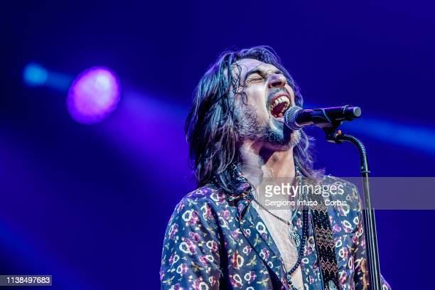 Francesco Sarcina of Le Vibrazioni performs on stage at Mediolanum Forum on March 26, 2019 in Milan, Italy.