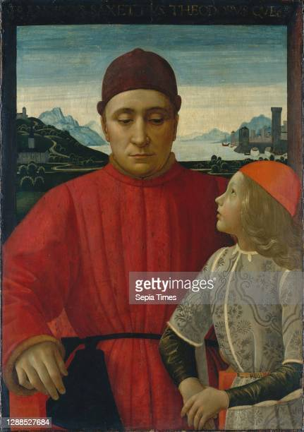 Francesco Sassetti and His Son Teodoro, ca. 1488, Tempera on wood, Overall 33 1/4 x 25 1/8 in. ; painted surface 29 7/8 x 20 7/8 in. , Paintings,...