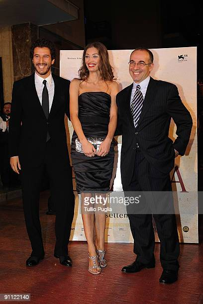 Francesco Scianna Margarete Made and Director Giuseppe Tornatore attend the Baaria screening at the Supercinema on September 24 2009 in Bagheria near...