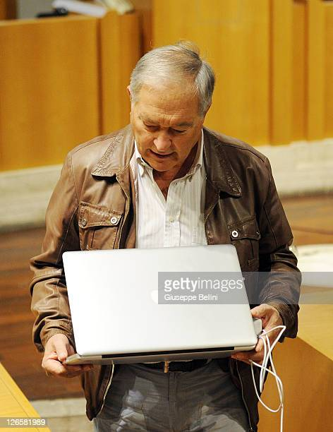 Francesco Sollecito father of Raffaele Sollecito attends the appeal hearing at Perugia's court of appeal on September 26 2011 in Perugia Italy Amanda...