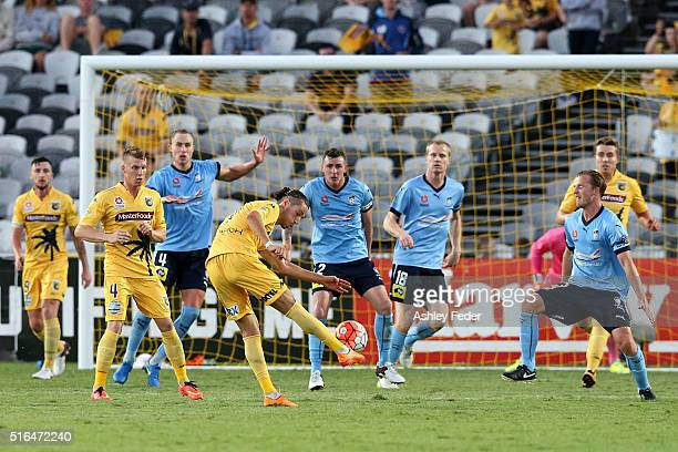 Francesco Stella of the Mariners shoots at goal during the round 24 A-League match between the Central Coast Mariners and Sydney FC at Central Coast...