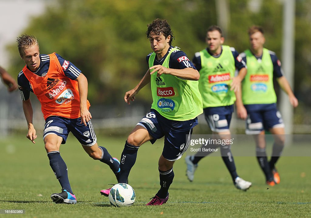 Francesco Stella of the Victory controls the ball during a Melbourne Victory A-League training session at Gosch's Paddock on February 14, 2013 in Melbourne, Australia.