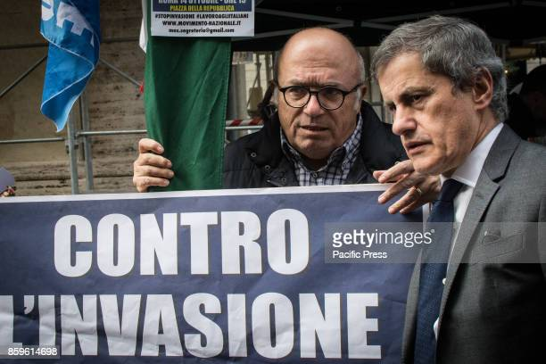 Francesco Storace abd Gainni Alemanno during Press conference and demonstration against the invasion of Immigrants and for the Italian work of 14...