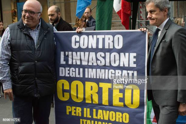 Francesco Storace and Gainni Alemanno during Press conference and demonstration against the invasion of Immigrants and for the Italian work of 14...