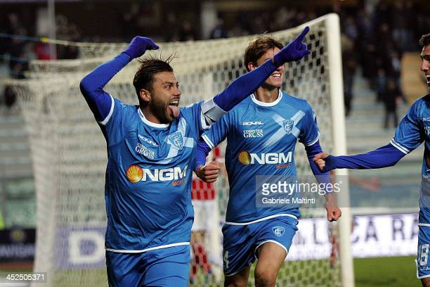 Francesco Tavano of Empoli FC celebrates after scoring a goal during the Serie B match between Empoli FC and Brescia Calcio at Stadio Carlo...