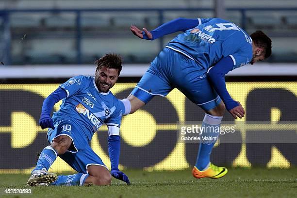 Francesco Tavano of Empoli FC celebrates after scoring a goal during the Serie B match between Empoli FC and Brescia Calcio at Stadio Carlo...