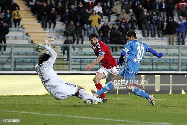 Francesco Tavano of Empoli FC scores the opening goal during the Serie B match between Empoli FC and Brescia Calcio at Stadio Carlo Castellani on...