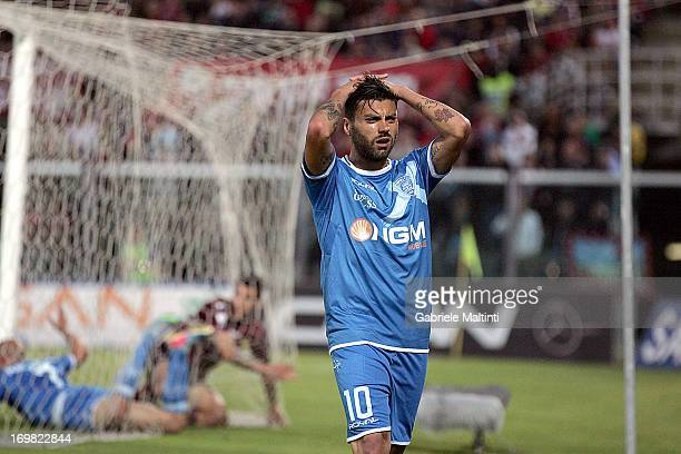 Francesco Tavano of Empoli FC shows his dejection during the Serie B playoff final match between AS Livorno and Empoli FC at Stadio Armando Picchi on...
