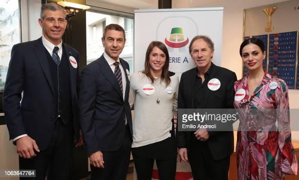 Francesco Toldo Alessandro Costacurta Regina Baresi Franco Baresi and Rossella Brescia pose prior to the Lega Serie A 'Un Rosso Alla Violenza' press...