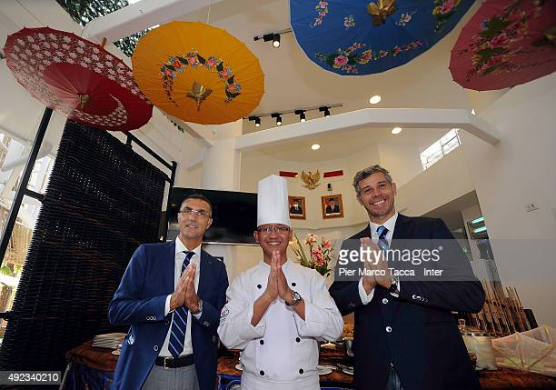 Francesco Toldo former goalkeeper and Giuseppe Bergomi former footballer of FC Internazionale pose during their visit at the Indonesia Pavilion at...
