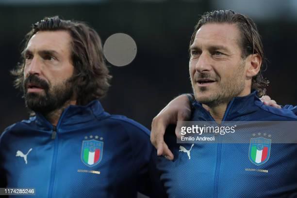 Francesco Totti and Andrea Pirlo of Azzurri Legends look on prior to the friendly match between DFBAllStars and Azzurri Legends at Sportpark Ronhof...