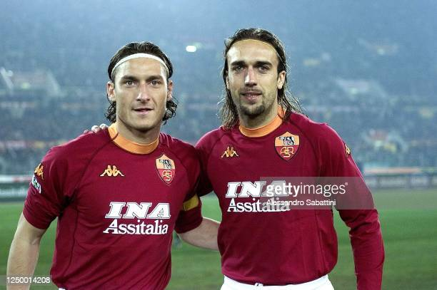Francesco Totti and Gabriel Batistuta of AS Roma pose for photo during the Serie A 200001 Italy