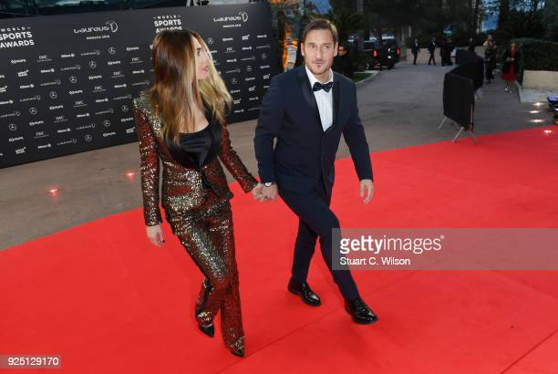 Francesco Totti and Ilary Blasi attends the 2018 Laureus World Sports Awards at Salle des Etoiles Sporting MonteCarlo on February 27 2018 in Monaco...