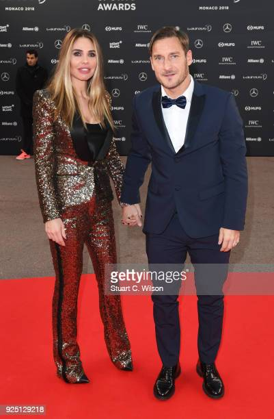 Francesco Totti and Ilary Blasi attends the 2018 Laureus World Sports Awards at Salle des Etoiles, Sporting Monte-Carlo on February 27, 2018 in...