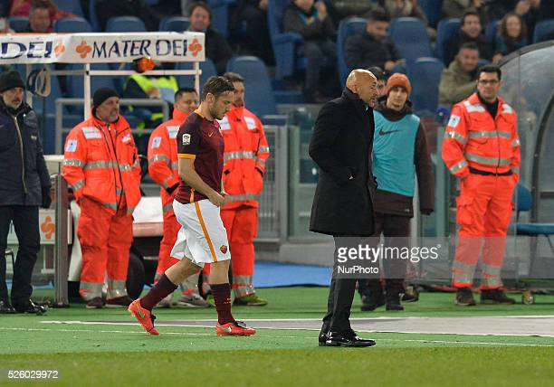 Francesco Totti and Luciano Spalletti during the Italian Serie A football match AS Roma vs AC Fiorentina at the Olympic Stadium in Rome on march 04...