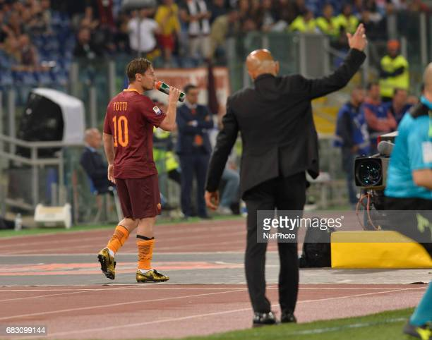 Francesco Totti and Luciano Spalletti during the Italian Serie A football match between AS Roma and FC Juventus at the Olympic Stadium in Rome on may...